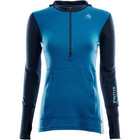 Aclima WarmWool Hood Sweater with Zip Women navy blazer/blue sapphire/azure blue